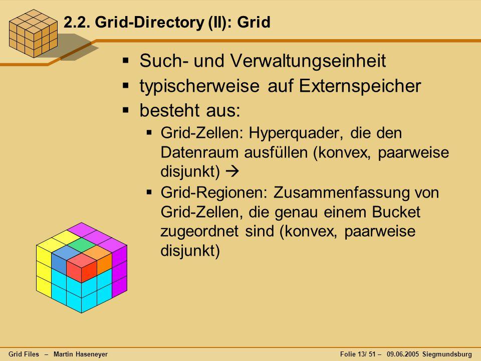 Grid Files – Martin HaseneyerFolie 13/ 51 – 09.06.2005 Siegmundsburg 2.2. Grid-Directory (II): Grid  Such- und Verwaltungseinheit  typischerweise au