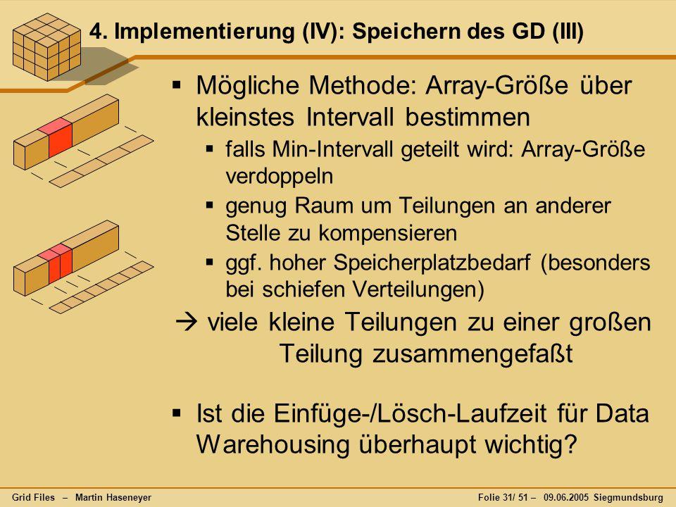 Grid Files – Martin HaseneyerFolie 31/ 51 – 09.06.2005 Siegmundsburg 4. Implementierung (IV): Speichern des GD (III)  Mögliche Methode: Array-Größe ü