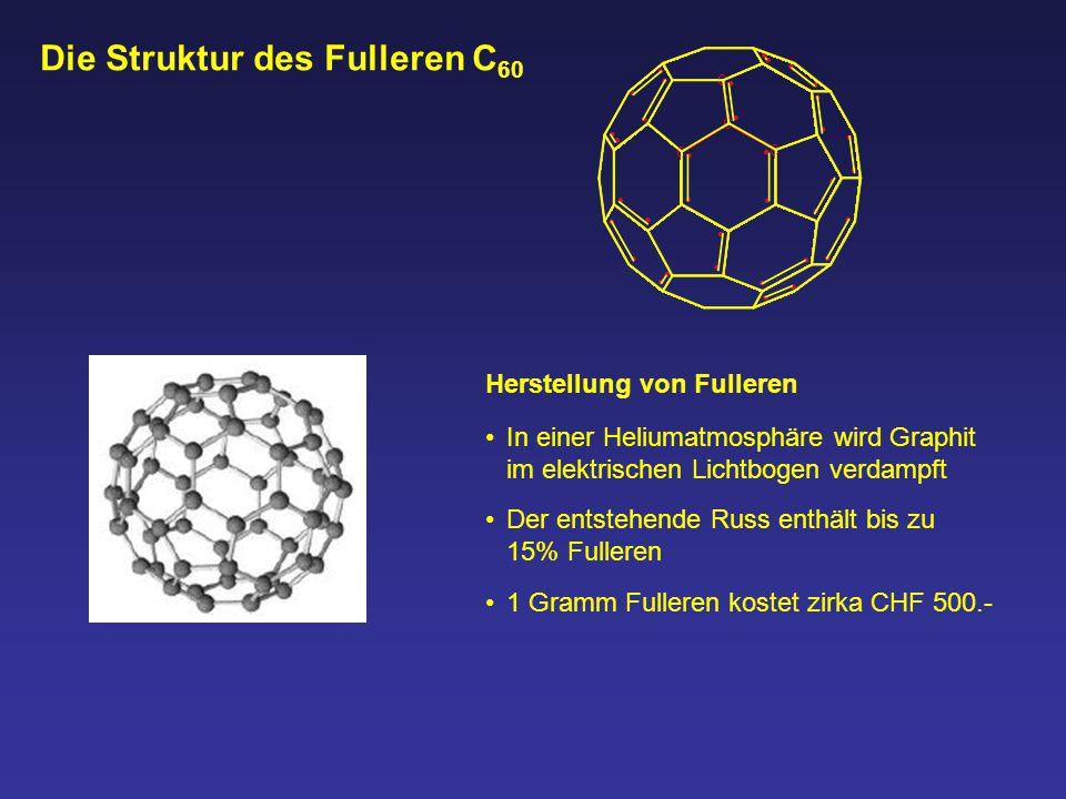 Herstellung von Fulleren In einer Heliumatmosphäre wird Graphit im elektrischen Lichtbogen verdampft Die Struktur des Fulleren C 60 Der entstehende Ru