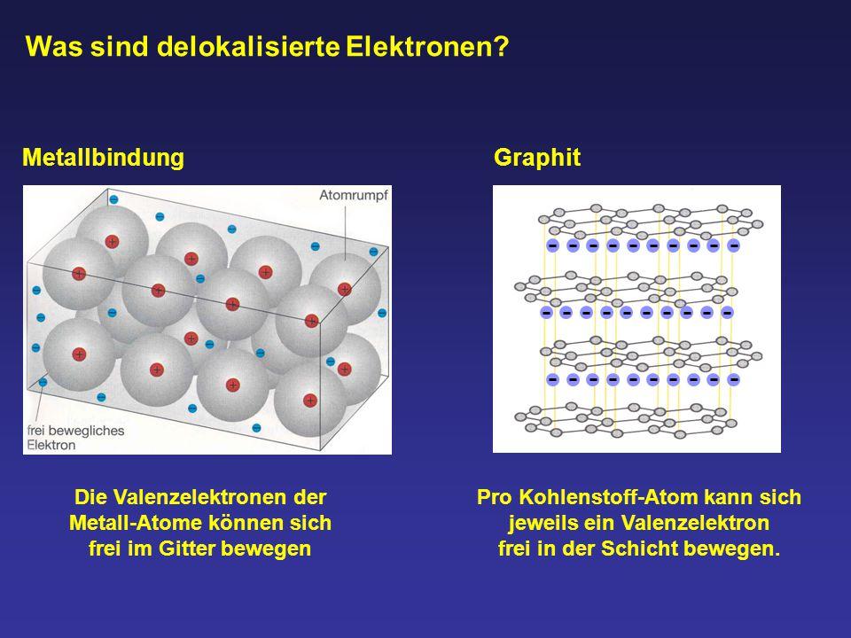 Metallbindung Die Valenzelektronen der Metall-Atome können sich frei im Gitter bewegen Graphit Pro Kohlenstoff-Atom kann sich jeweils ein Valenzelektr