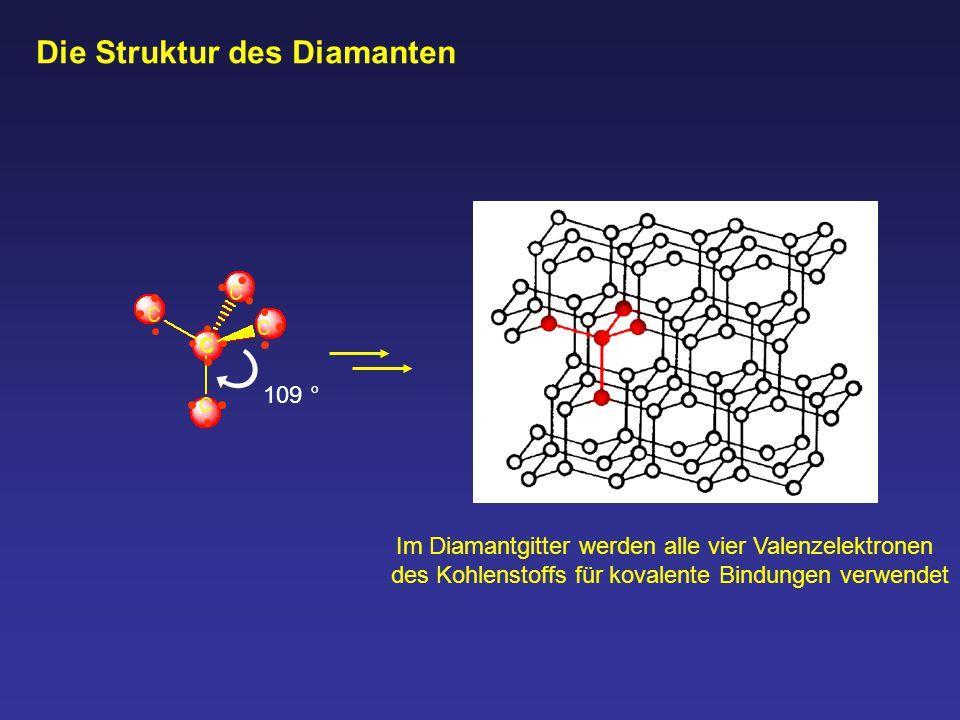 Die Struktur des Diamanten Im Diamantgitter werden alle vier Valenzelektronen des Kohlenstoffs für kovalente Bindungen verwendet 109 °
