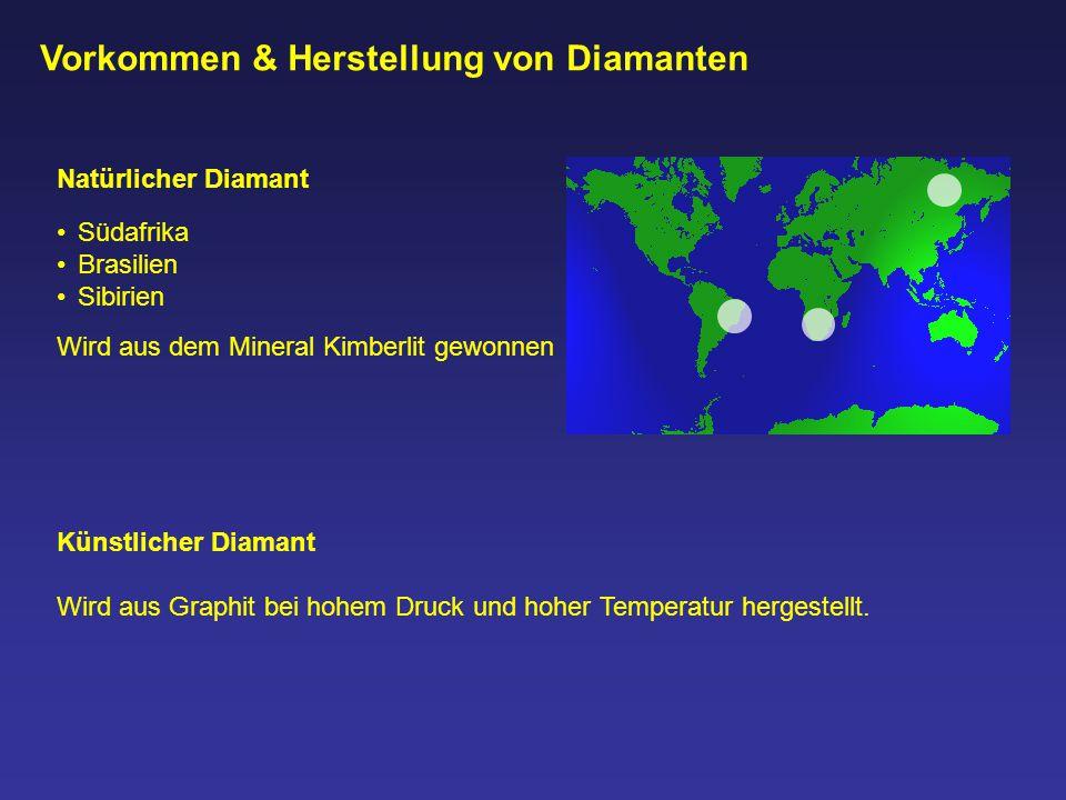 Vorkommen & Herstellung von Diamanten Natürlicher Diamant Südafrika Brasilien Sibirien Künstlicher Diamant Wird aus Graphit bei hohem Druck und hoher