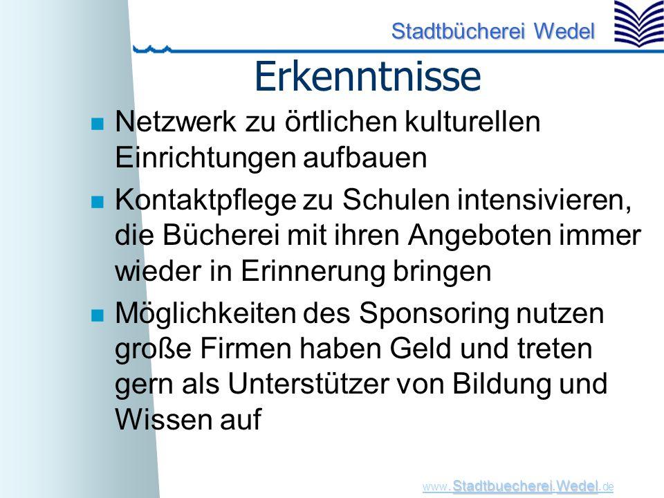 StadtbuechereiWedel www. Stadtbuecherei.Wedel. de Stadtbücherei Wedel Erkenntnisse n Netzwerk zu örtlichen kulturellen Einrichtungen aufbauen n Kontak