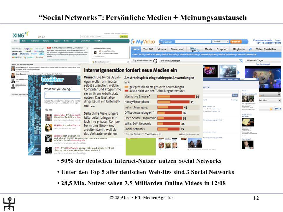 """©2009 bei F.F.T. MedienAgentur 12 """"Social Networks"""": Persönliche Medien + Meinungsaustausch 50% der deutschen Internet-Nutzer nutzen Social Networks U"""