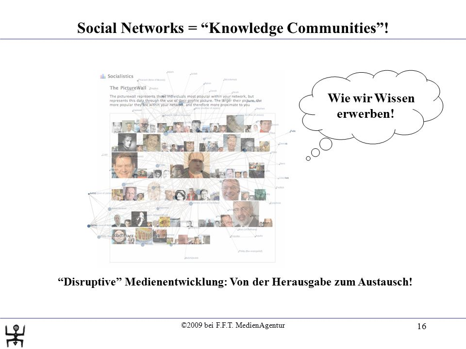 ©2009 bei F.F.T. MedienAgentur 16 Social Networks = Knowledge Communities .