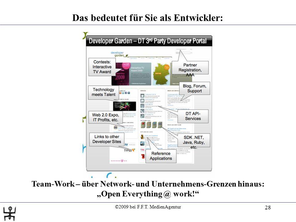 """©2009 bei F.F.T. MedienAgentur 28 Das bedeutet für Sie als Entwickler: """"Ready for Primetime"""" Team-Work – über Network- und Unternehmens-Grenzen hinaus"""