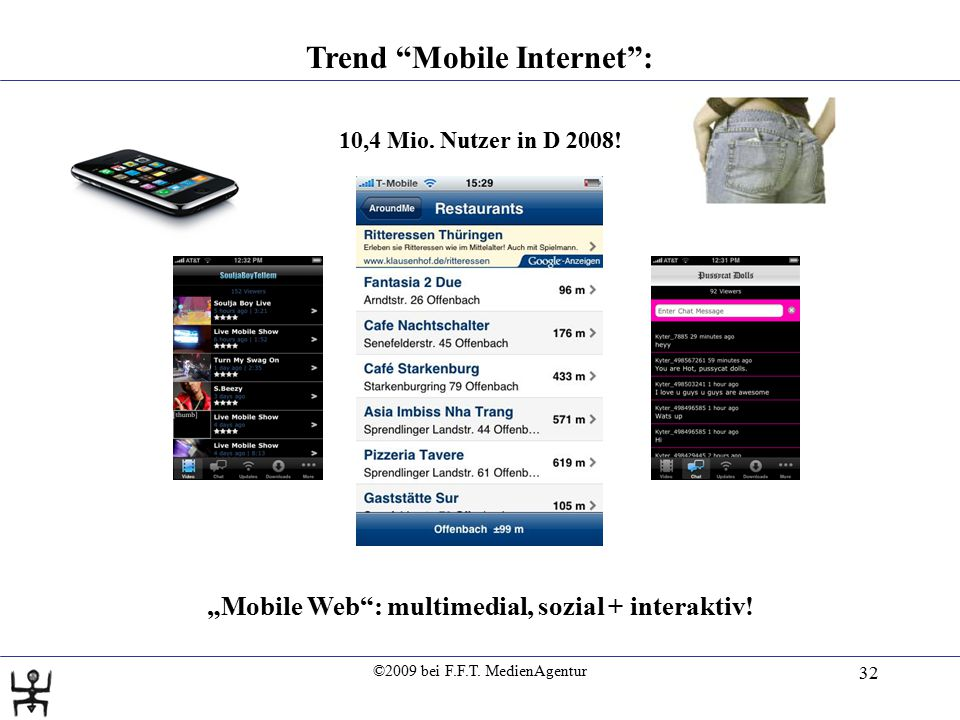 "©2009 bei F.F.T. MedienAgentur 32 Trend ""Mobile Internet"": 10,4 Mio. Nutzer in D 2008! ""Mobile Web"": multimedial, sozial + interaktiv!"