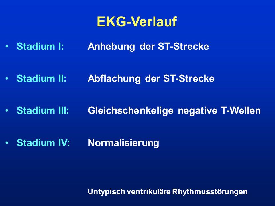 EKG-Verlauf Stadium I:Anhebung der ST-Strecke Stadium II:Abflachung der ST-Strecke Stadium III:Gleichschenkelige negative T-Wellen Stadium IV:Normalis