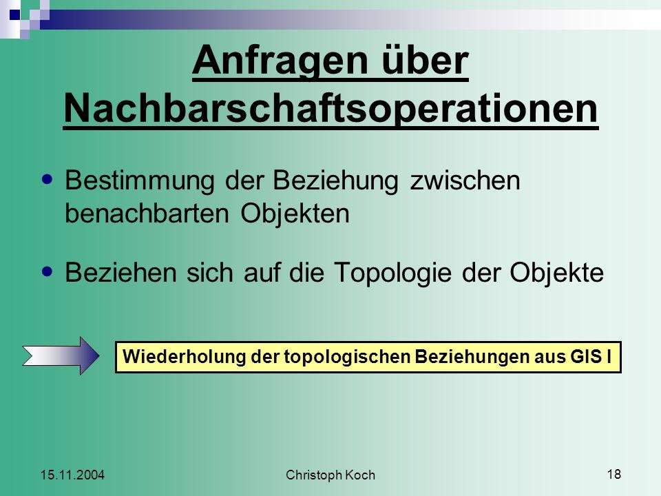 Christoph Koch 18 15.11.2004 Anfragen über Nachbarschaftsoperationen Bestimmung der Beziehung zwischen benachbarten Objekten Beziehen sich auf die Topologie der Objekte Wiederholung der topologischen Beziehungen aus GIS I