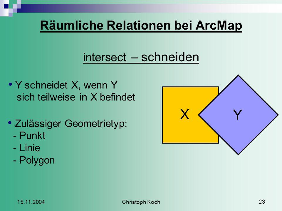 Christoph Koch 23 15.11.2004 Räumliche Relationen bei ArcMap intersect – schneiden X Y Y schneidet X, wenn Y sich teilweise in X befindet Zulässiger Geometrietyp: - Punkt - Linie - Polygon