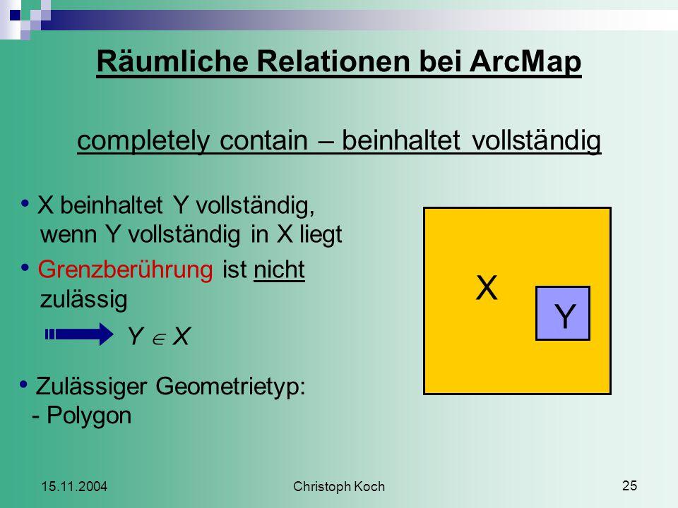 Christoph Koch 25 15.11.2004 Räumliche Relationen bei ArcMap completely contain – beinhaltet vollständig X beinhaltet Y vollständig, wenn Y vollständig in X liegt Grenzberührung ist nicht zulässig Y  X Zulässiger Geometrietyp: - Polygon X Y