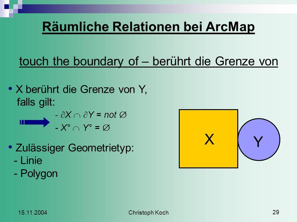 Christoph Koch 29 15.11.2004 Räumliche Relationen bei ArcMap touch the boundary of – berührt die Grenze von X berührt die Grenze von Y, falls gilt: -  X   Y = not  - X°  Y° =  Zulässiger Geometrietyp: - Linie - Polygon X Y