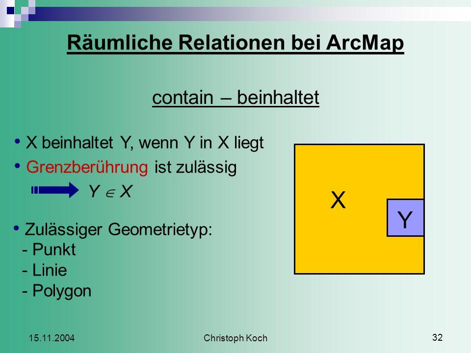 Christoph Koch 32 15.11.2004 Räumliche Relationen bei ArcMap contain – beinhaltet X beinhaltet Y, wenn Y in X liegt Grenzberührung ist zulässig Y  X Zulässiger Geometrietyp: - Punkt - Linie - Polygon X Y