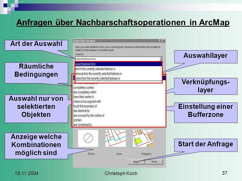 Christoph Koch 37 15.11.2004 Auswahllayer Start der Anfrage Auswahl nur von selektierten Objekten Räumliche Bedingungen Verknüpfungs- layer Anzeige welche Kombinationen möglich sind Art der Auswahl Einstellung einer Bufferzone Anfragen über Nachbarschaftsoperationen in ArcMap
