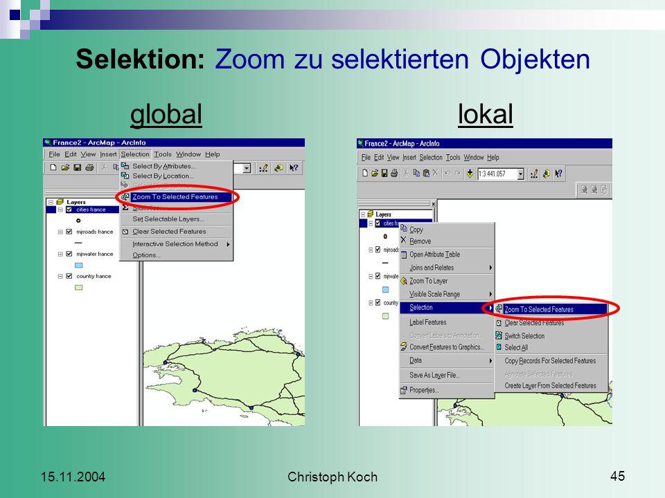 Christoph Koch 45 15.11.2004 Selektion: Zoom zu selektierten Objekten globallokal