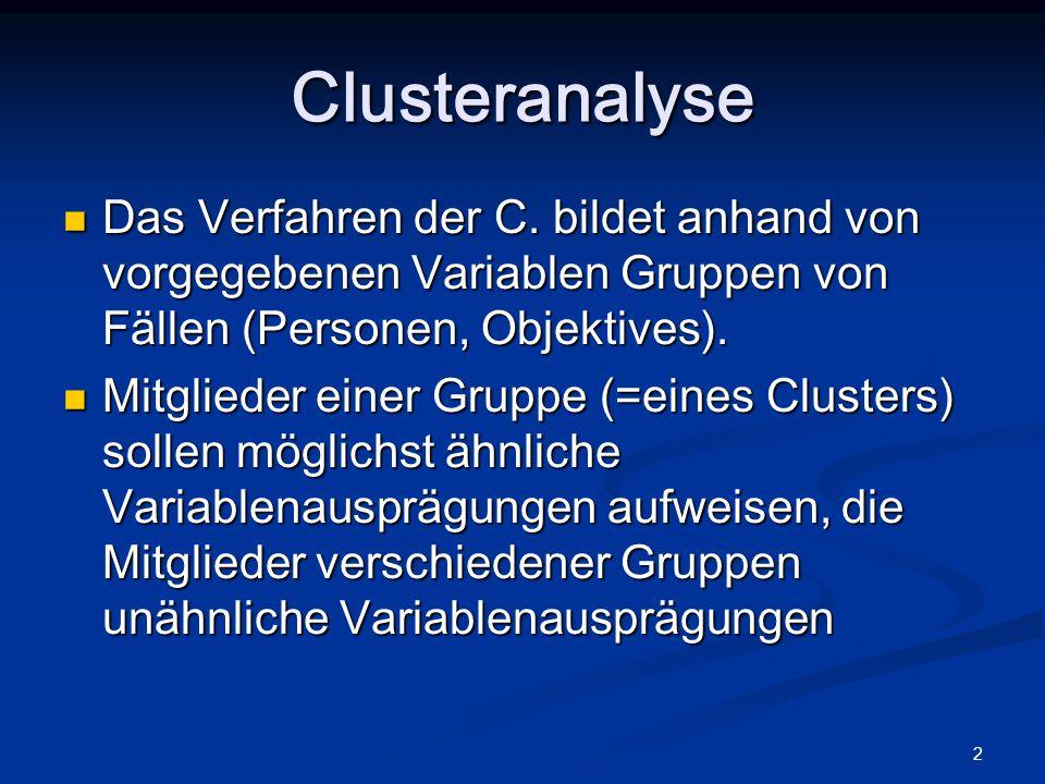 2 Das Verfahren der C. bildet anhand von vorgegebenen Variablen Gruppen von Fällen (Personen, Objektives). Das Verfahren der C. bildet anhand von vorg
