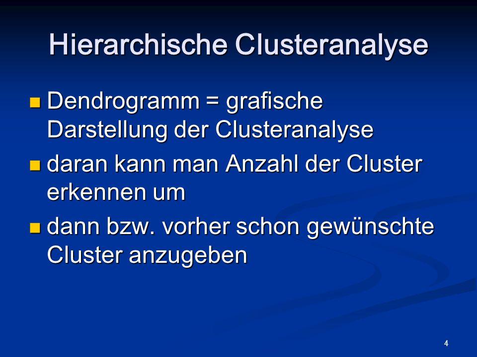 4 Dendrogramm = grafische Darstellung der Clusteranalyse Dendrogramm = grafische Darstellung der Clusteranalyse daran kann man Anzahl der Cluster erkennen um daran kann man Anzahl der Cluster erkennen um dann bzw.