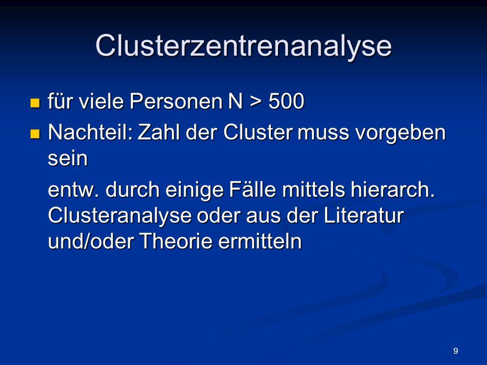 9 Clusterzentrenanalyse für viele Personen N > 500 für viele Personen N > 500 Nachteil: Zahl der Cluster muss vorgeben sein Nachteil: Zahl der Cluster