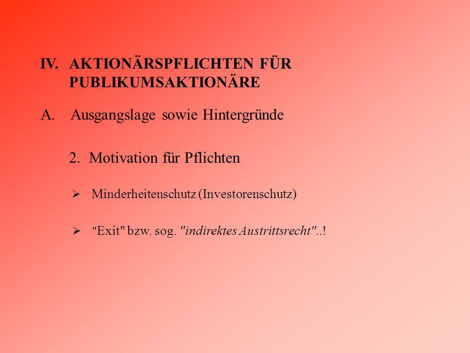 IV.AKTIONÄRSPFLICHTEN FÜR PUBLIKUMSAKTIONÄRE A.Ausgangslage sowie Hintergründe 2.Motivation für Pflichten  Minderheitenschutz (Investorenschutz)  Exit bzw.