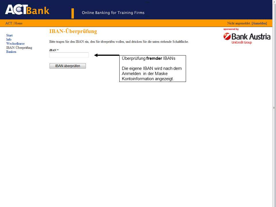 Die Liste der Auslandsbanken wird bei Bedarf nach Clearingbanken in zusätzlichen Ländern erweitert.
