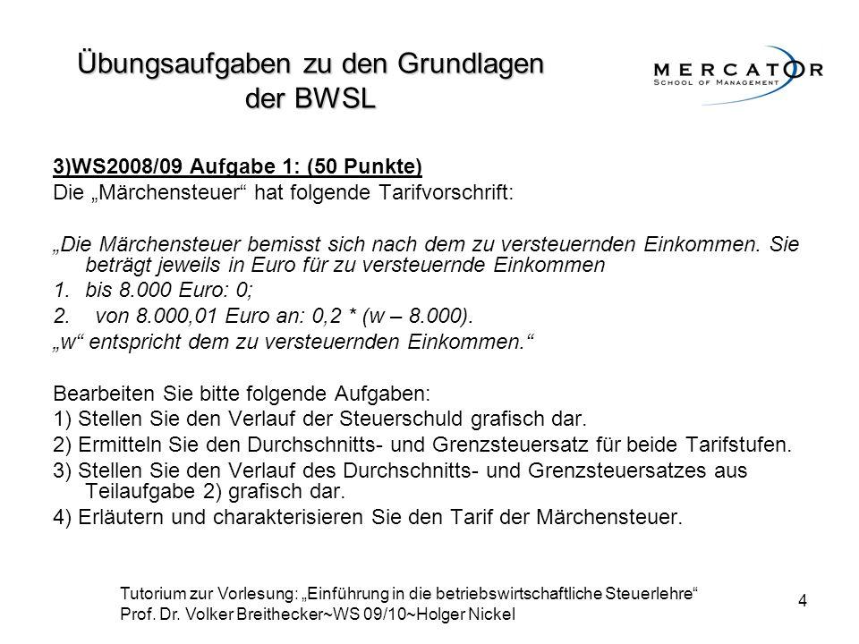 """4 3)WS2008/09 Aufgabe 1: (50 Punkte) Die """"Märchensteuer"""" hat folgende Tarifvorschrift: """"Die Märchensteuer bemisst sich nach dem zu versteuernden Einko"""