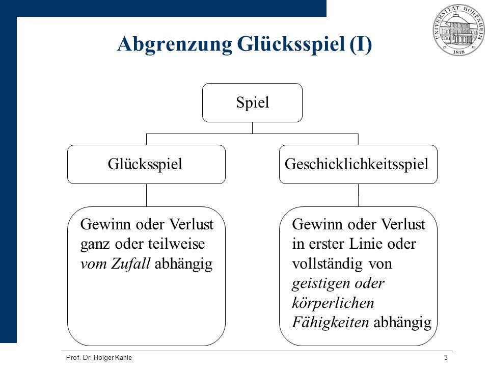 Prof. Dr. Holger Kahle3 Abgrenzung Glücksspiel (I) Spiel GlücksspielGeschicklichkeitsspiel Gewinn oder Verlust ganz oder teilweise vom Zufall abhängig