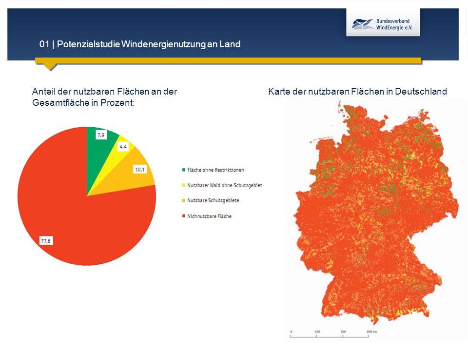 01 | Potenzialstudie Windenergienutzung an Land Anteil der nutzbaren Flächen an der Gesamtfläche in Prozent: Karte der nutzbaren Flächen in Deutschlan