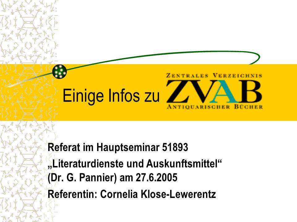 """Einige Infos zu Referat im Hauptseminar 51893 """"Literaturdienste und Auskunftsmittel (Dr."""