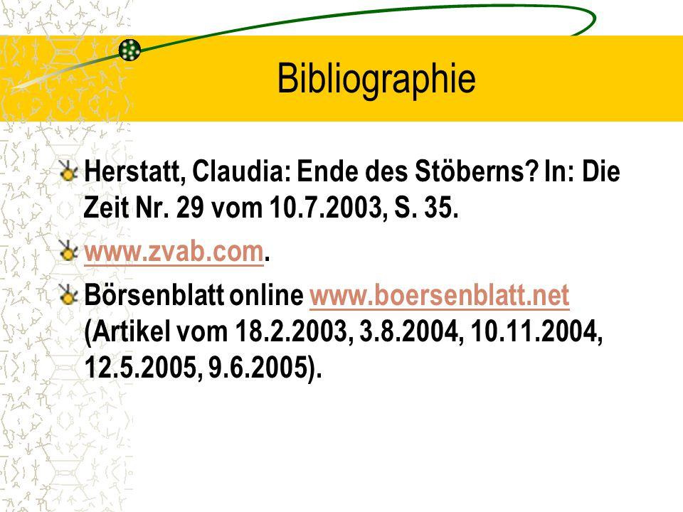 Bibliographie Herstatt, Claudia: Ende des Stöberns.