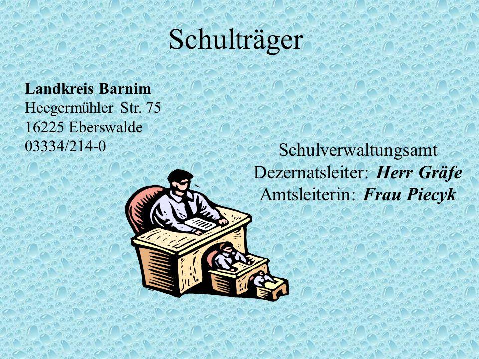 Schulträger Landkreis Barnim Heegermühler Str. 75 16225 Eberswalde 03334/214-0 Schulverwaltungsamt Dezernatsleiter: Herr Gräfe Amtsleiterin: Frau Piec