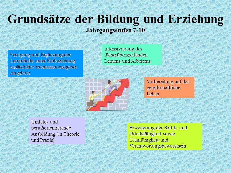 Grundsätze der Bildung und Erziehung Jahrgangsstufen 7-10 Festigung und Ergänzung der Lerninhalte unter Einbeziehung zusätzlicher interessenbezogener