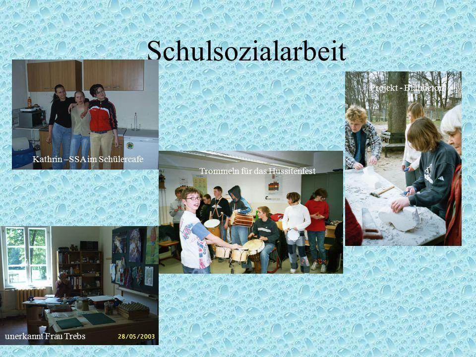 Schulsozialarbeit Kathrin –SSA im Schülercafe Projekt - Blähbeton Trommeln für das Hussitenfest unerkannt Frau Trebs