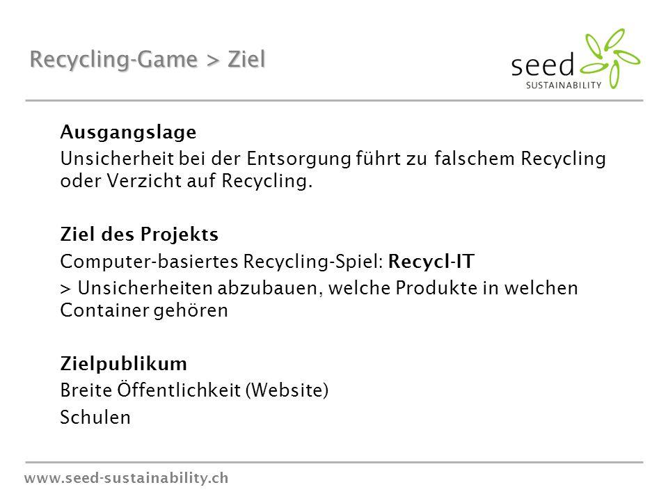 www.seed-sustainability.ch Recycling-Game > Ziel Ausgangslage Unsicherheit bei der Entsorgung führt zu falschem Recycling oder Verzicht auf Recycling.