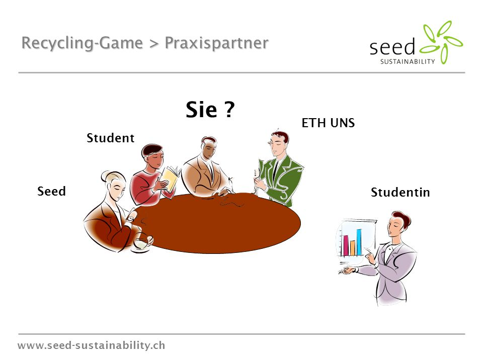 www.seed-sustainability.ch Recycling-Game > Praxispartner ETH UNS Studentin Student Sie Seed