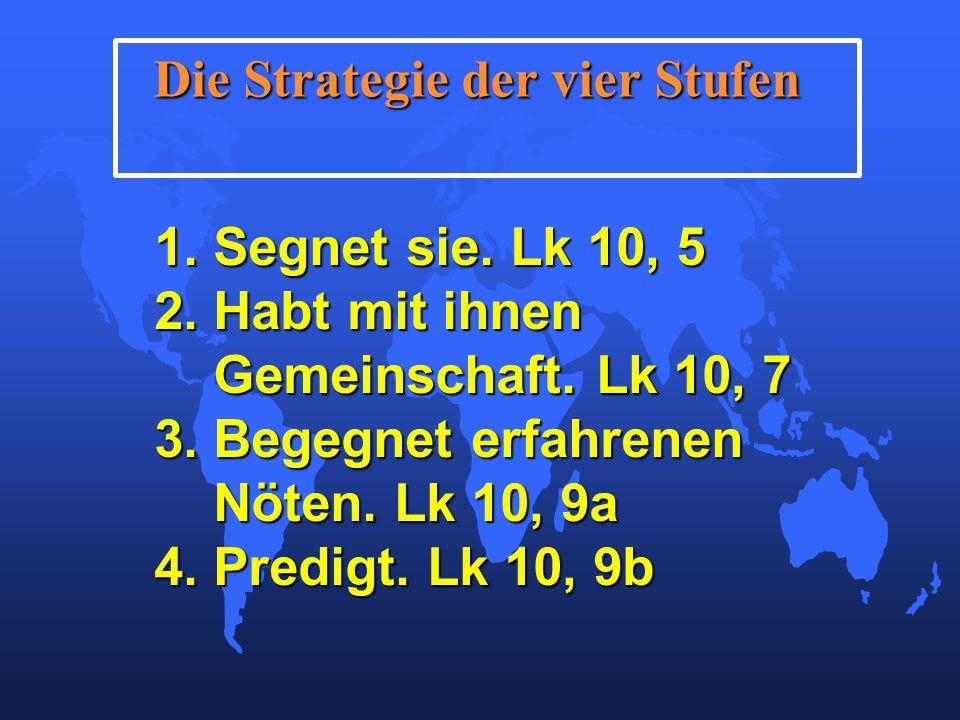 Die Strategie der vier Stufen 1. Segnet sie. Lk 10, 5 2.
