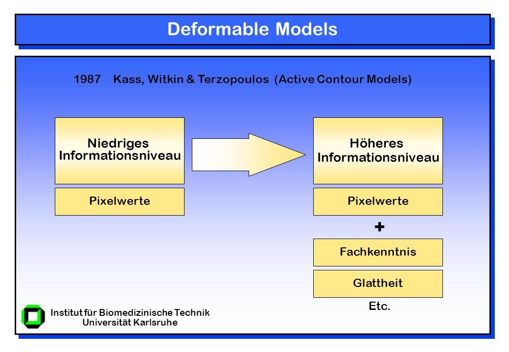 Institut für Biomedizinische Technik Universität Karlsruhe Deformable Models Höheres Informationsniveau Niedriges Informationsniveau Pixelwerte Fachkenntnis Glattheit Pixelwerte + 1987 Kass, Witkin & Terzopoulos (Active Contour Models) Etc.
