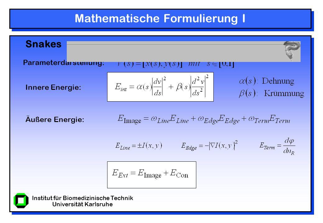 Institut für Biomedizinische Technik Universität Karlsruhe Mathematische Formulierung II Gesamte Energiefunktion: Die Lösung der Aufgabe besteht darin, die Kontur (Snake) V(s) zu bestimmen für die E Snake ausgehend von der Intialkontur am kleinsten ist.