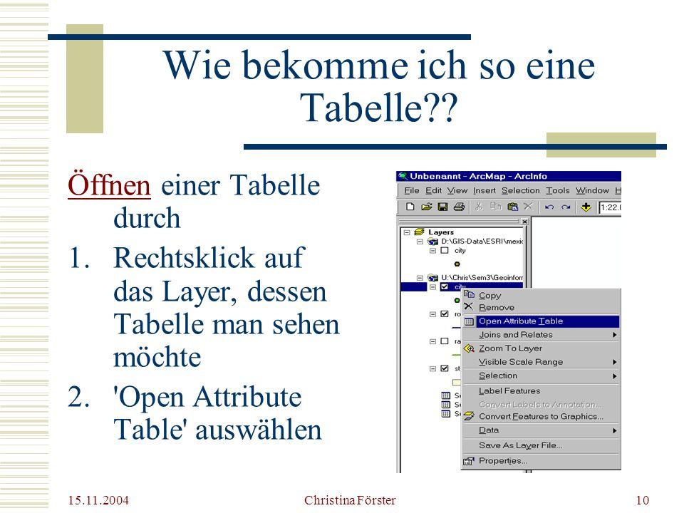 15.11.2004 Christina Förster10 Wie bekomme ich so eine Tabelle?.