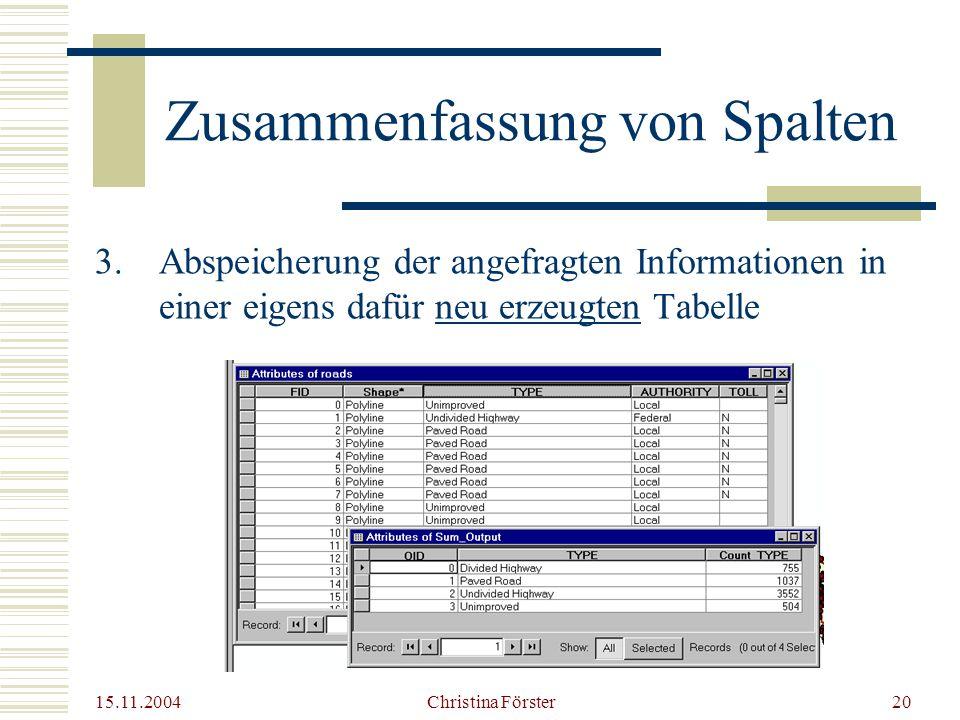 15.11.2004 Christina Förster20 Zusammenfassung von Spalten 3.Abspeicherung der angefragten Informationen in einer eigens dafür neu erzeugten Tabelle