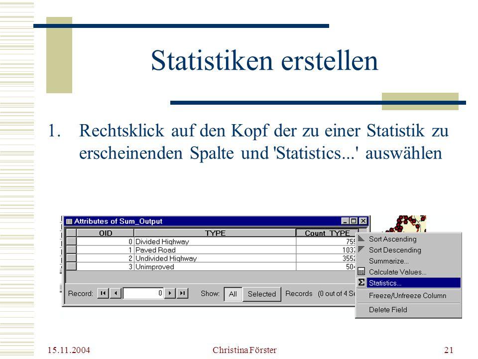 15.11.2004 Christina Förster21 Statistiken erstellen 1.Rechtsklick auf den Kopf der zu einer Statistik zu erscheinenden Spalte und Statistics... auswählen