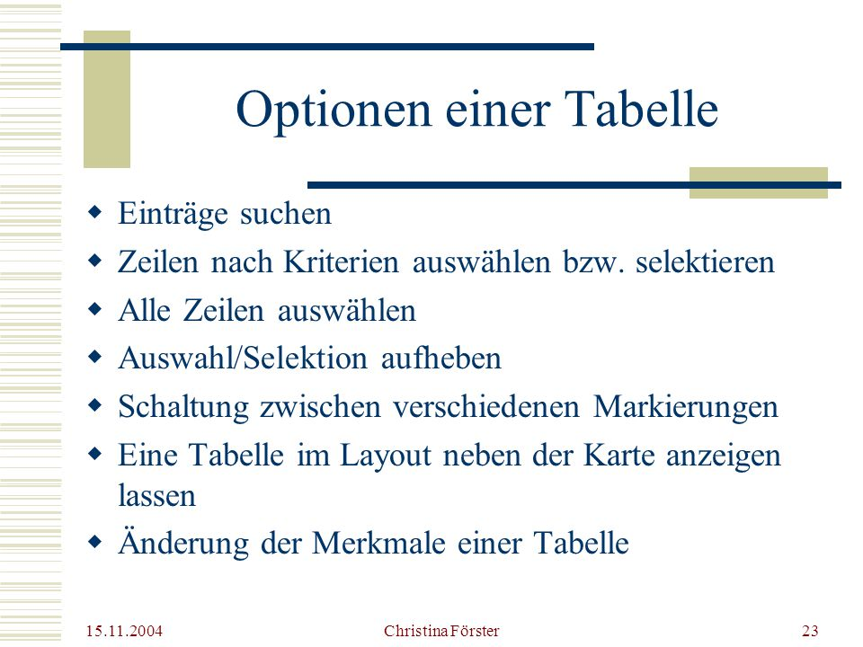 15.11.2004 Christina Förster23 Optionen einer Tabelle  Einträge suchen  Zeilen nach Kriterien auswählen bzw.