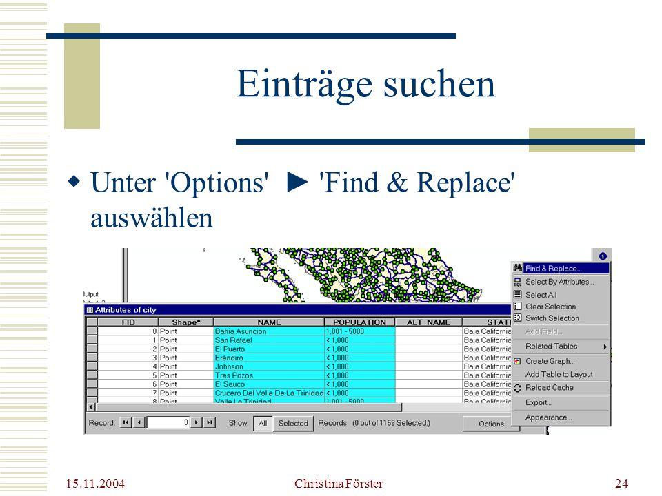 15.11.2004 Christina Förster24 Einträge suchen  Unter Options ► Find & Replace auswählen