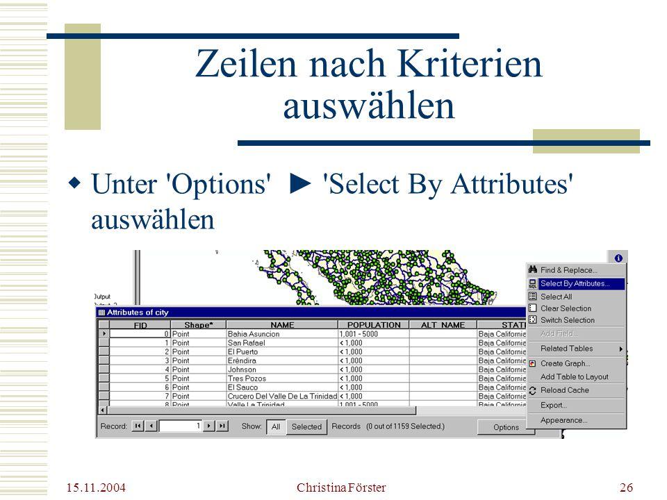 15.11.2004 Christina Förster26 Zeilen nach Kriterien auswählen  Unter Options ► Select By Attributes auswählen
