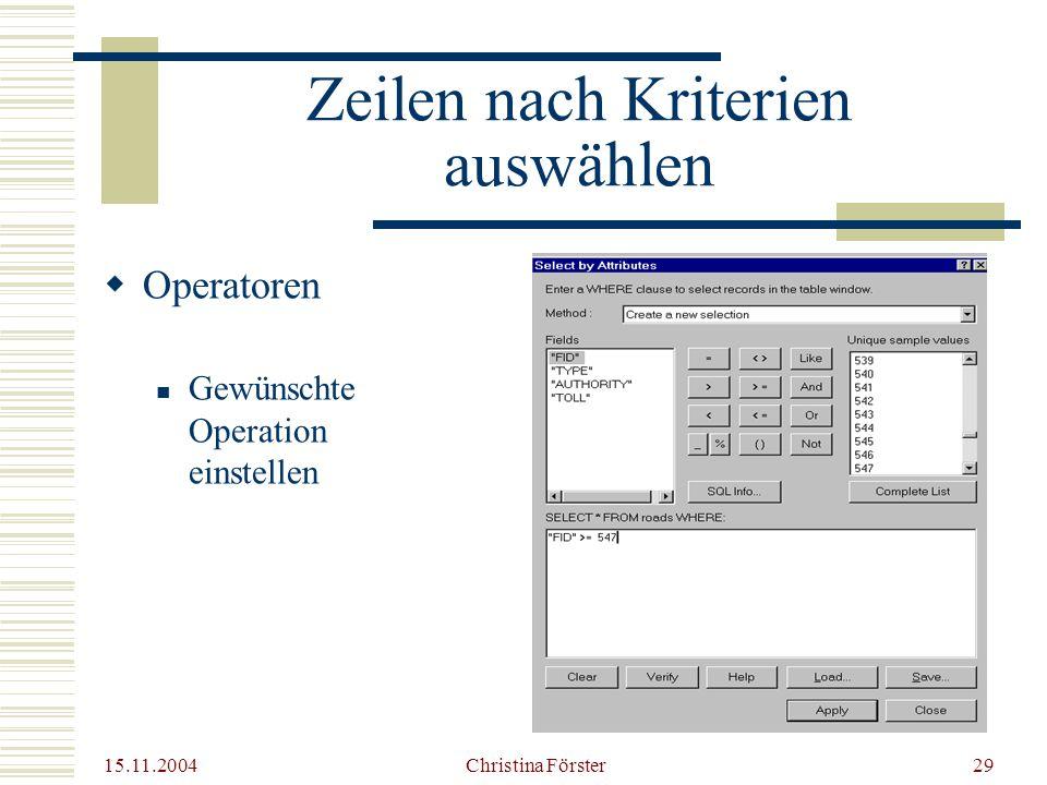 15.11.2004 Christina Förster29 Zeilen nach Kriterien auswählen  Operatoren Gewünschte Operation einstellen