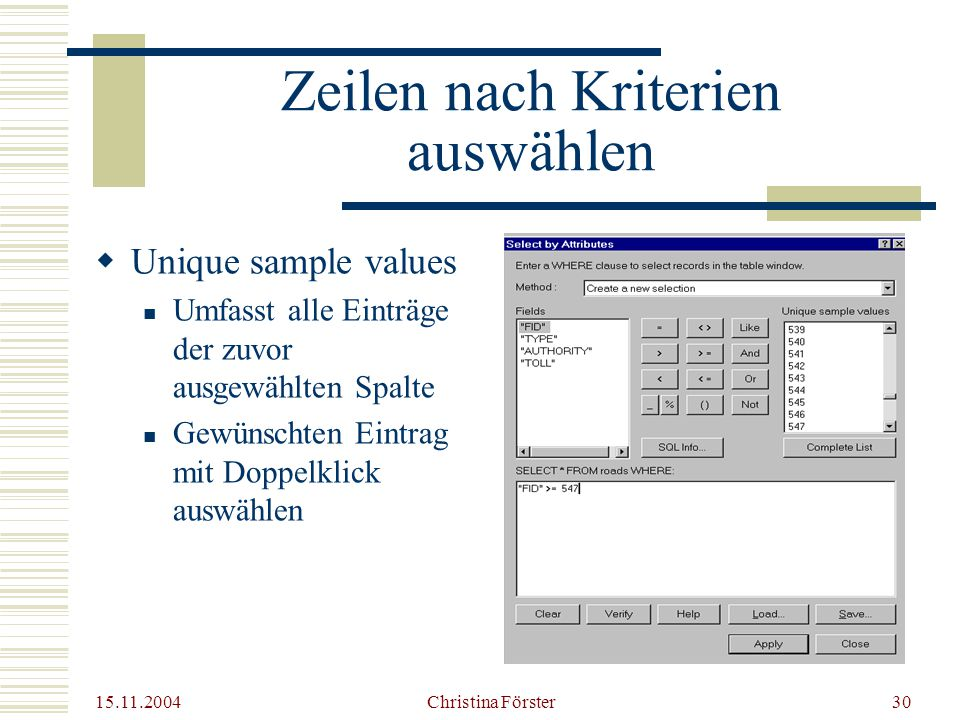 15.11.2004 Christina Förster30 Zeilen nach Kriterien auswählen  Unique sample values Umfasst alle Einträge der zuvor ausgewählten Spalte Gewünschten Eintrag mit Doppelklick auswählen