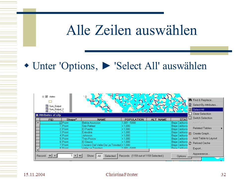15.11.2004 Christina Förster32 Alle Zeilen auswählen  Unter Options' ► Select All auswählen