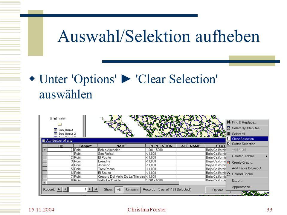 15.11.2004 Christina Förster33 Auswahl/Selektion aufheben  Unter Options ► Clear Selection auswählen