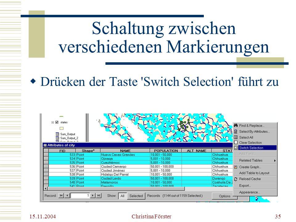 15.11.2004 Christina Förster35 Schaltung zwischen verschiedenen Markierungen  Drücken der Taste Switch Selection führt zu