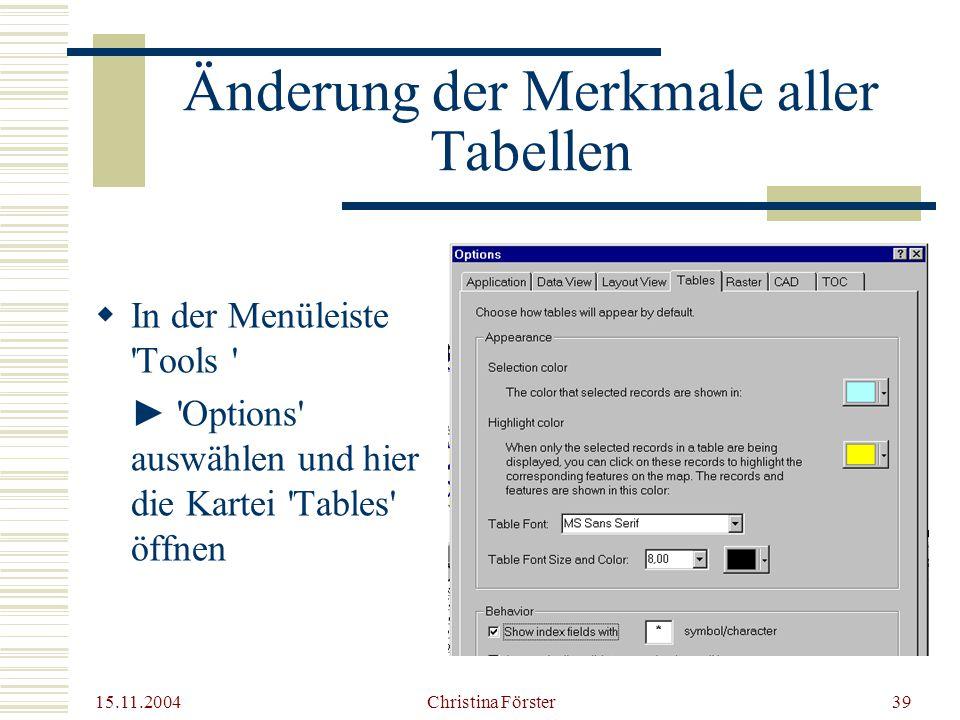15.11.2004 Christina Förster39 Änderung der Merkmale aller Tabellen  In der Menüleiste Tools ► Options auswählen und hier die Kartei Tables öffnen