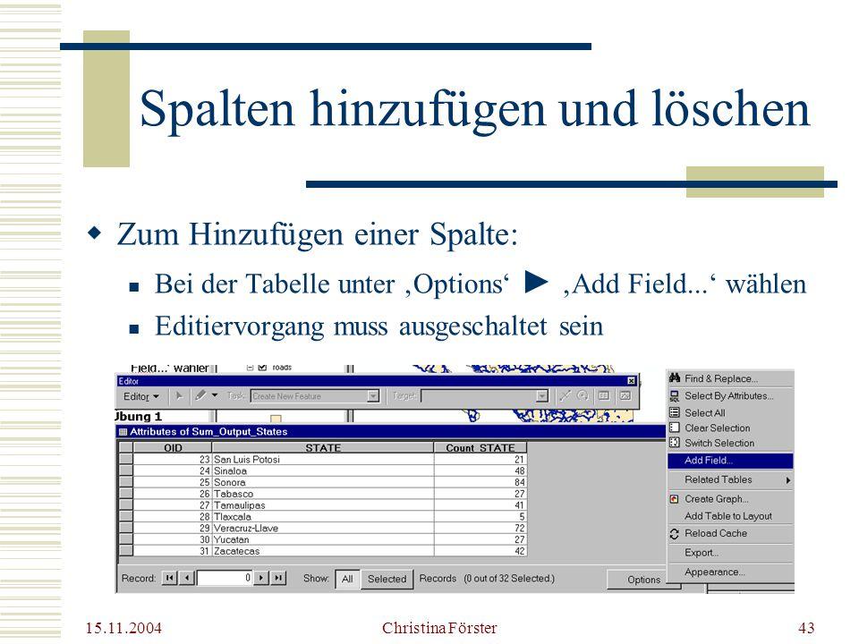 15.11.2004 Christina Förster43 Spalten hinzufügen und löschen  Zum Hinzufügen einer Spalte: Bei der Tabelle unter 'Options' ► 'Add Field...' wählen Editiervorgang muss ausgeschaltet sein